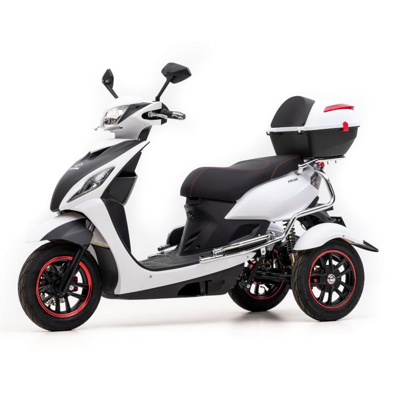Zijkant witte Pride elektrische driewieler